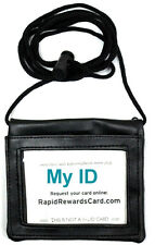 Leather Badge ID Holder Adjustable Neck Cord Zipper Pocket Horizontal Window Blk