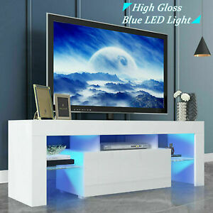 Modern TV Unit Cabinet Stand High Gloss Doors 130cm with LED Lights Drawers Matt