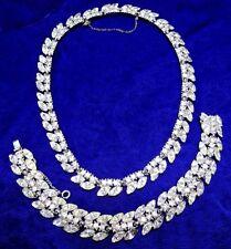 BOGOFF Vintage 1950s Rhinestone Necklace & Bracelet Set MidCentury Designer