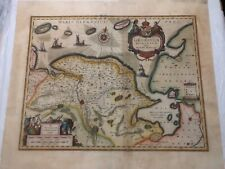 GRONINGEN NETHERLANDS 1636 WILLELM JANSZ BLAEU UNUSUAL ANTIQUE ENGRAVED MAP