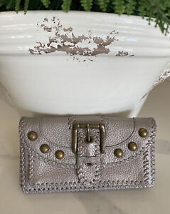 LAST CALL Isabella Fiore Metallic Taupe Soft Leather Whip Stitch Studded Wallet