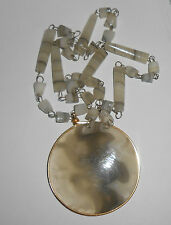 Huge Beige White & Agate Disc Gold Wire Wrap Pendant Beads Artisan Necklace
