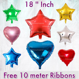 """18"""" STAR & HEART SHAPE FOIL BALLOONS Party decoration QUALITY shining Baloons uk"""