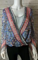 BCBG Max Azria S Small Top Kasia Silk Faux Wrap Blouse Shirt Blue Red Gray