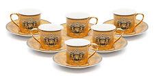 12 Piece Euro Porcelain Medusa Bone China Espresso Cup Set - 24k Gold Yellow