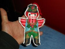 Gingerbread Man Ornament Handmade French Fleur De Lis Sewn Christmas Decoration