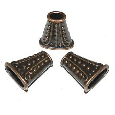 M383p Antiqued Copper Line & Dot Textured 18mm Flat Oval Metal Bead Cone 10/pkg