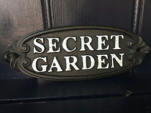 Secret Garden Cast Iron Sign Plaque Wall House Gate Fence Rustic mothers day