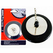 "3"" Sink Plug Stopper Kitchen Ware For Drain Rubber W/ Stainless Steel Chain BN62"