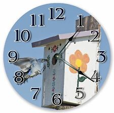 "10.5"" BLUE BIRD NEST FEEDING CLOCK - Large 10.5"" Wall Clock - Home Décor - 3022"