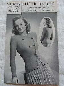 Original 1940's Knitting Pattern Ladies Fitted Jacket Weldons 728 P & P