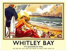 Whitley Bay (old rail ad.) large steel sign 400mm x 300mm (og)