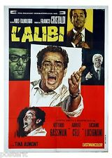 manifesto 2F originale L'ALIBI Vittorio Gassman Adolfo Celi L.Lucignani 1969