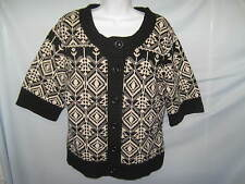 Jillian Jones Sweater Lambs Wool Black/Off White ½ Sleeve Size M #CL67