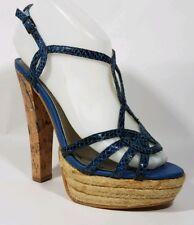 City Streets Wmns 6 M Blue Strappy Chunky Slingback Sandal Heel Ankle Strap Shoe