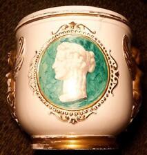 Ugo Zaccagnini Italian Art Pottery Antique Roman Cameo Ceramic Gilt Vase Planter