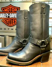 Harley Davidson Women Size 7 M Motorcycle Square Toe Harness Black Boots D83254