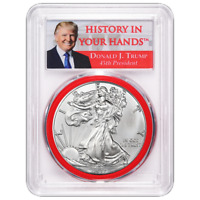 2017 $1 American Silver Eagle PCGS MS70 Donald Trump First Strike Label Red Gask
