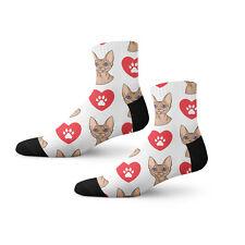 Devon Rex Cat Head Cat Heart Paws Fun Cool Novelty 3.5 in Men Women Socks