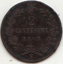 CENT. 2 VITT. EMANUELE II RE D'ITALIA RAME 1862 NAPOLI RARA