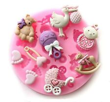 Baby Icing Fondant Mold - Baby shower icing mould themed cake decorations pram