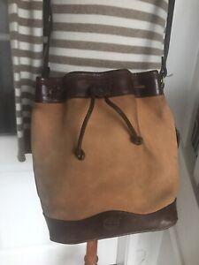 Timberland Vintage 1980s Drawstring Bucket Shoulder Bag Tan & Brown Leather