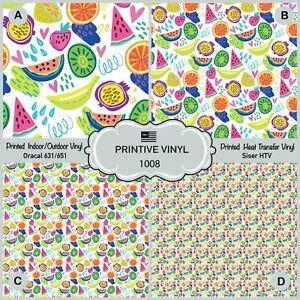 Tropical Fruits Patterned Iron on, Heat Transfer Vinyl, Adhesive Vinyl 1008