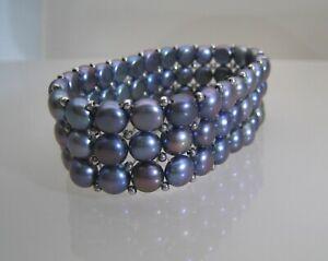 Handwoven Bracelet  Freshwater Cultured Button Pearl - Ocean Blue