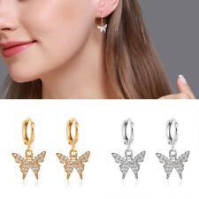Women Silver Gold Earrings Crystal Butterfly Dangle Ear Drop Stud Hoop Jewelry