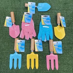 Childrens Kids Wooden Gardening Tool Set - Inc Gloves Shovel and Rake - NEW