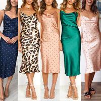 Moxeay Women Spaghetti Strap Backless Midi Party Night Club Long Silk Slip Dress