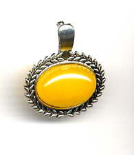 BEAUTIFUL GENUINE YELLOW JADE ENHANCER for Pearl Necklace *Antique Silver