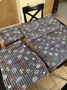 Pottery Barn PB Teen MLB National Major League Baseball Gray Queen Sheet Set