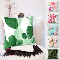 UK Flower Pillow Case Sofa Car Throw Waist Cushion Cover Cotton Linen Home Decor