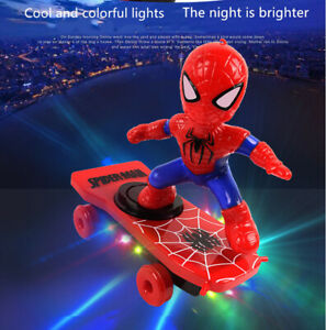 Spiderman Electric Skateboard 360° Rotation Music Light Kids Toys Xmas Gift 2021