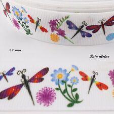 Ruban gros grain blanc Libellule fleurs & Pissenlit de 22 mm vendu au mètre