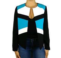 Tahari ASL Blue Black Color Block Open Front Jacket Womens Size 6P Petite