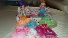 Dolls x 2, 12cm tall with Dresses, lounge & bedroom suite-Post free Aust only