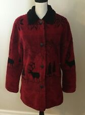 OutBrook Women's Fleece Red / Black Trees Deer Nature Button Down Jacket Size S