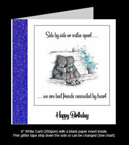 'Side by Side or Miles Apart, Best Friends Connected By Heart' Birthday Card