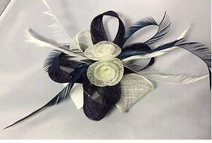 NAVY/CREAM /off White Net&Feather.Clip.fascinator.weddings.races.proms.#35