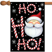 NEW Toland - Ho Ho Ho Santa - Christmas Winter Black Double Sided House Flag