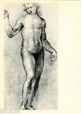 1958 Russian postcard ETUDE OF NUDE MAN'S FIGURE by Italian artist G. Sogliani