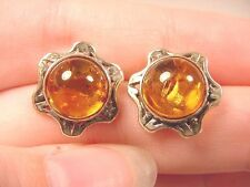 (pe36-i) ORANGE Baltic AMBER Poland round sun .925 Sterling SILVER stud EARRINGS