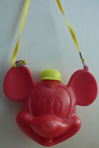 Mickey Mouse plastic water canteen with shoulder strap 1960's-70's Monogram