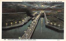 Br44623 Miraflores locks by moonlight Panama Canal panama