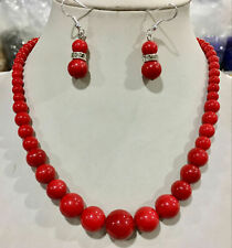 Natural 6-14mm South Sea Red Shell Pearl Necklace Earrings Set AAA