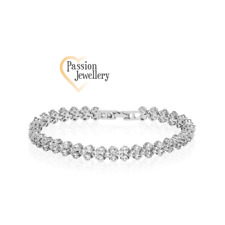 Fashion Multi Link Bracelet Made With 99 Sparkling Clear Zircons