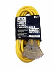 15ft Heavy Duty 12 Gauge Lighted 3 Outlet Extension Cord - 15' 12 3 Outdoor SJTW