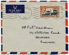GIBRALTAR 1953 TWO SHILLINGS SINGLE FRANKING AIRMAIL to BEDFORD GB